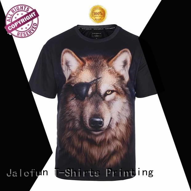 Jalofun cotton custom embroidered t shirts supply for summer